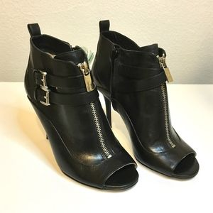 Michael Kors Brena Open Toe Leather Booties